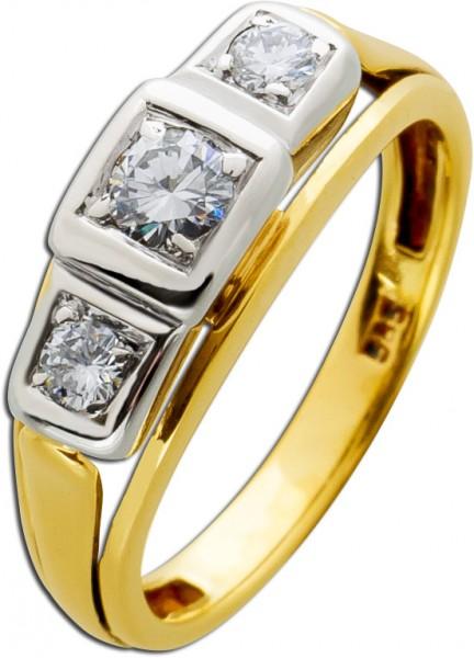 Brillant Ring Gold Weißgold 585 Antik D...