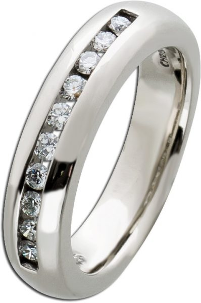 Memoire Ring Verlobungsring Beisteckring Weissgold 585 Diamant Brillant 0,30ct TW/VSI