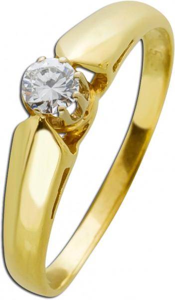 Solitär Ring Gold 585 antik Brillant Diamant Verlobungsring