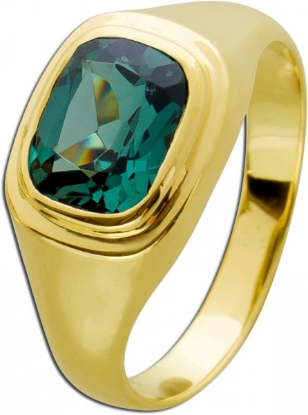 Edelstein grün Ring Gold 585 Herrenring...