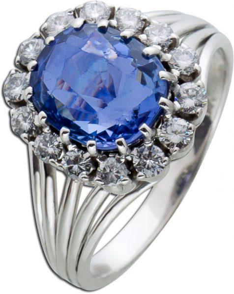 Antiker blauer unbehandelter Safir Diamant Ring Weissgold 750 Brillant 0,50ct TW/VSI Saphir 3,72ct  50-er Jahre