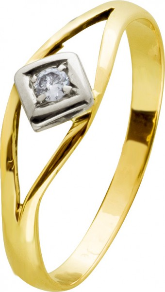 Antiker Diamant Ring Gelbgold Weissgold 333 0,12ct W/SI 20-er Jahre