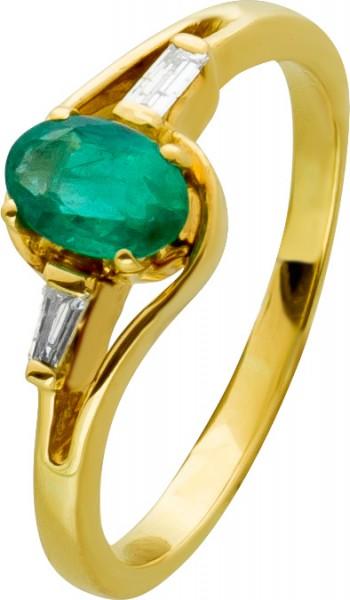 Edelstein Ring Gelbgold 750 ovaler grün...
