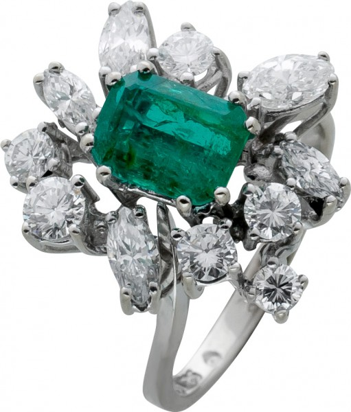 Antiker Smaragdring Weissgold 585 grün Smaragd Brillanten Diamanten Diamantring IGI Zertifikat, Gesamt 1,80ct, Gr.18mm
