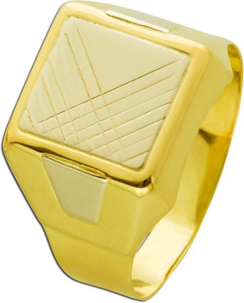 Antiker Herrenring Gelb Weissgold 750 geometrisches Design 70er Jahren