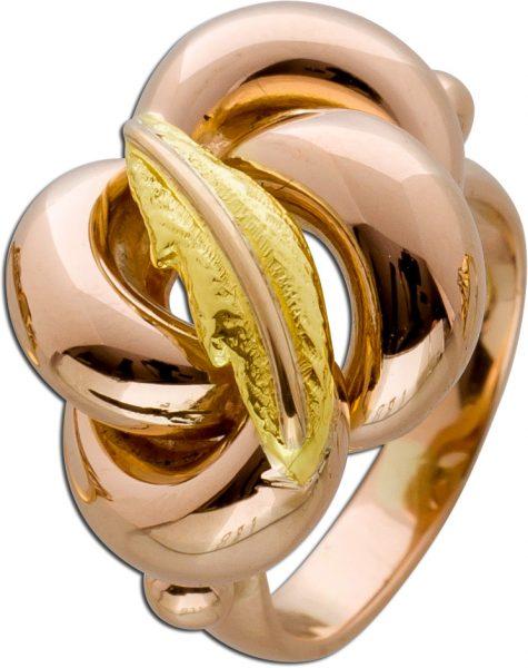 Antiker Cocktail Ring Gelb Rosegold 750 Blatt Liebesknoten Verzierung 60er Jahre