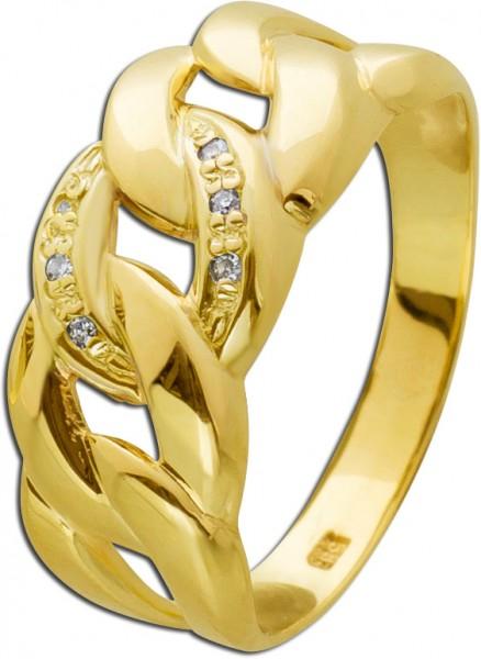 Diamant Ring Gelb/Weissgold 585 Diamante...