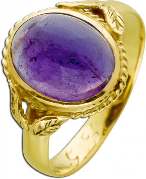 Um 1872 antiker Ring lilafarbenen Amethyst Gelbgold 585/- Edelsteinschmuck