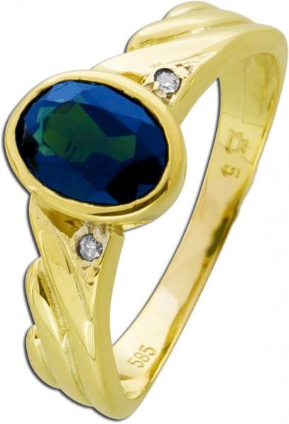 Antiker Edelsteinring 70er Jahren dunkelblauen Saphir Gelbgold 585 weißen Diamanten