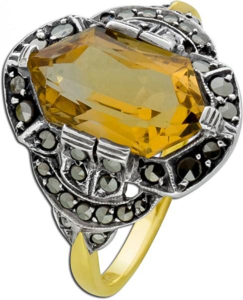 Um 1920 antiker Citrinring cognacfarben Gelb Weißgold 585 dunkelschwarze Markasite