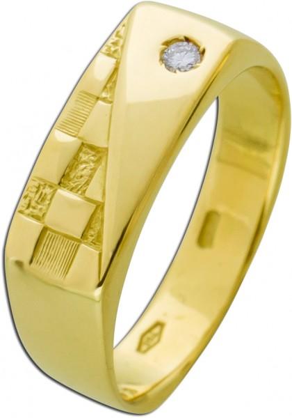 Diamant Brillant Herren Damenring Gelbgo...