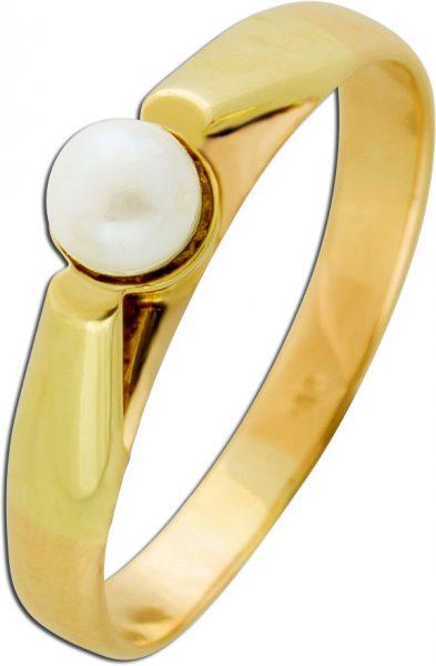 Antiker Perlenring Gelb Gold 585/-  um 1881 jap. Akoyaperle creme-rose farbendes Lüster