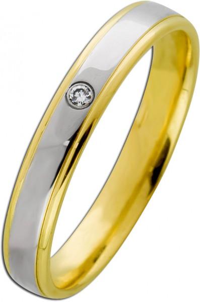 Klassischer Bicolor Bandring Gelb Weißg...
