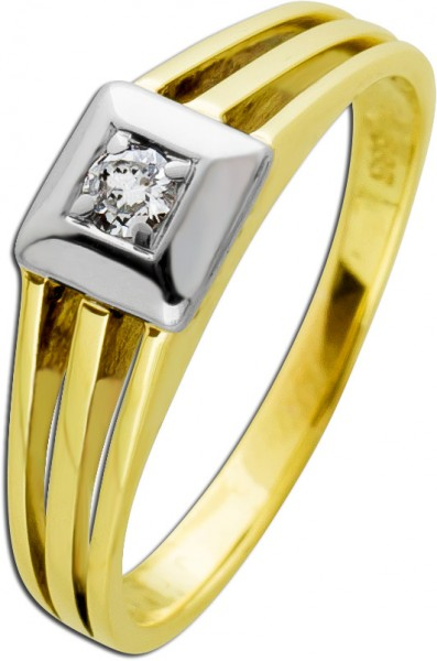 Antiker Solitärring weißen Brillant Gelb Weißgold 585/- Damenschmuck