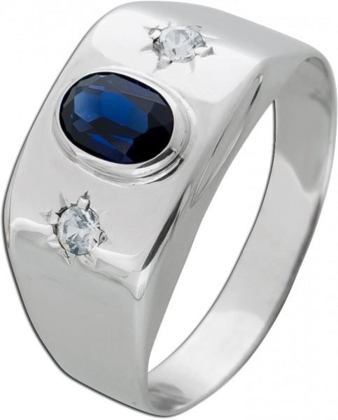 Antiker Blauer Saphir Edelstein Ring Weissgold 333 Diamant Brillant 0,08ct TW/SI Damen Herren