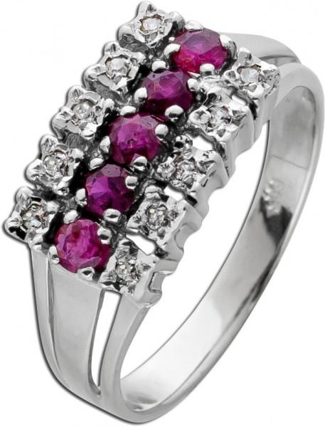 Antiker Edelstein Ring Weissgold 585 Rot...