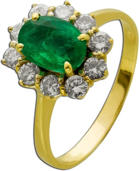 Edelstein Ring Lady Di Look Gelbgold 750 Smaragd 1ct Diamant Brillant 0,60ct TW/VSI IGI Zertifikat