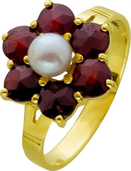 Antiker Edelstein Blumen Ring Gelbgold 333/- cremefarbenen Akoyaperle Granat Edelsteine