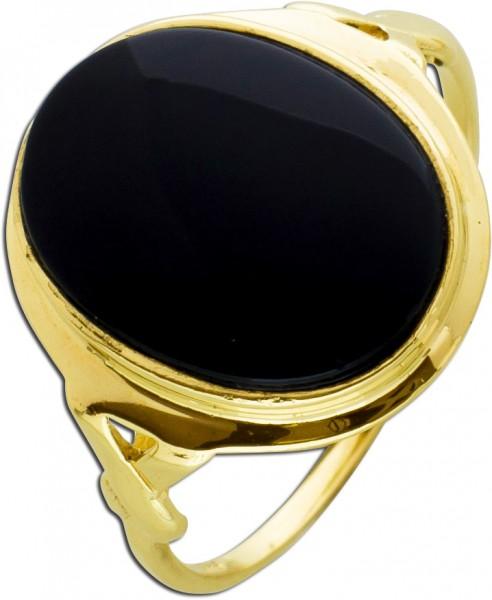 Antiker Onyx Ring um 1930 Gelbgold 585/- schwarzer Edelstein Cabochon Schliff Unisex