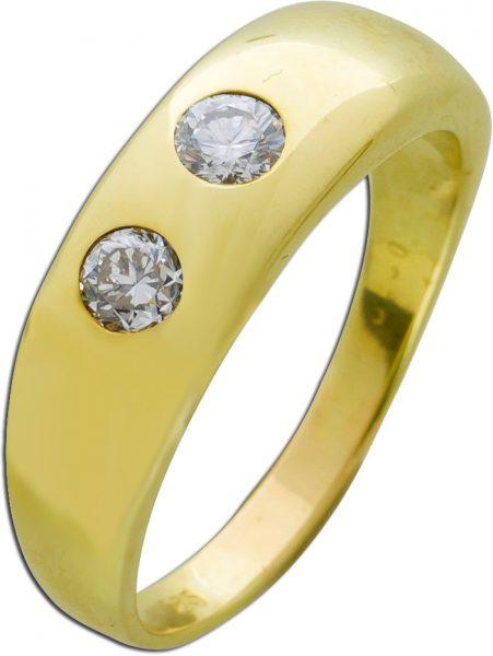 Weißer Brillantring antik um 1970 Gelbgold 585 Designer Herren Damenring mit Görg Zertifikat