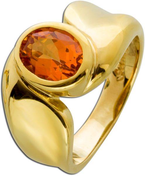 Scala Edelstein Citrin Ring Gelbgold 333/- orangefarbenen oval facettiert