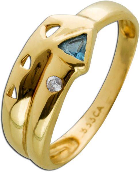 Antiker Blautopas Ring 80er Jahren weißen Zirkonia Gelbgold 333/- Damenschmuck