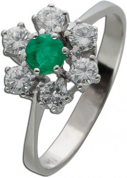 Grün leuchtender Smaragd Ring Antik um 1960 weißen Brillanten Weissgold 585/-