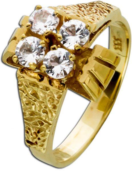 Weißer Zirkonia Ring Gelbgold 333/- Antik um 1900 Lapponia Optik