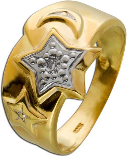 Antiker Ring weißen Diamant Gelbgold 33...