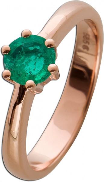 Solitärring Rosegold 585/-grüner Smaragd rund, natürlichen Einschlüssen, Krappenfassung, Gr. 17,3mm