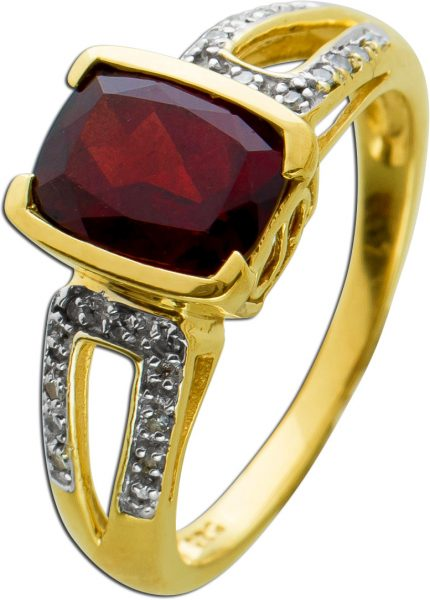 Ring Gelbgold 585/- roter Granat Diamanten 8/8 W/P 0,11ct,Gr. 18mm