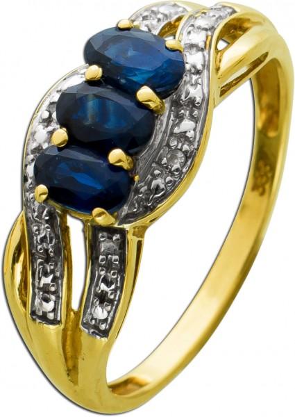 Vintage Ring 80er Jahre Gelbgold Weissgold 333/-8kt blauen Safiren, Diamanten 8/8 W/P, Gr. 18mm