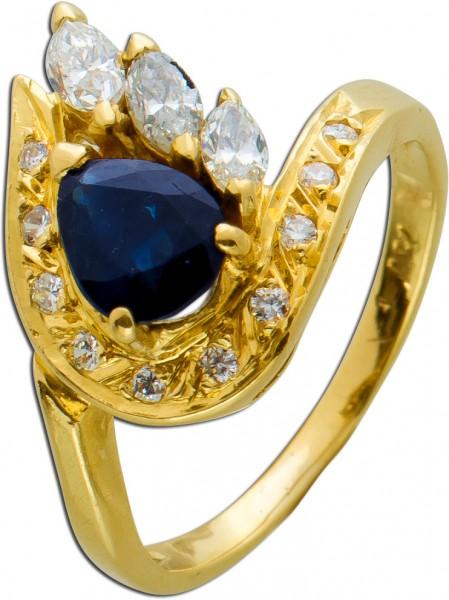 Antiker Ring um 1960 Gelbgold 750 blauen Safir Diamanten zus 0,30ct Brillanten TW/SI 16mm