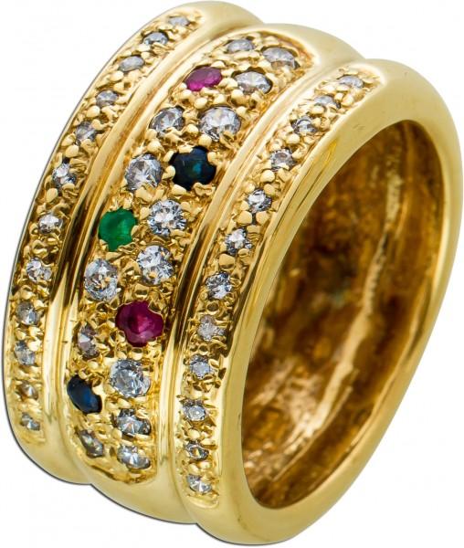 Edelstein Gold Ring Gelbgold 333 rote Rubine grüner Smaragd blaue Saphire weisse Zirkonia handgefasst