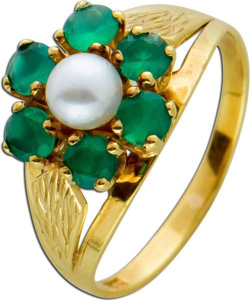 Antiker Smaragd Perl Ring um 1920 grünen Smaragden Gelbgold 333 Zuchtperle weiß