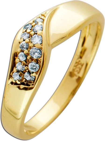 Moderner Ring weißen Zirkonia Gelbgold 333 Schlangen Muster