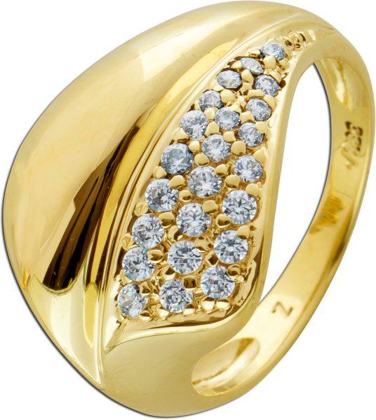 Moderner Gold Ring weißen Zirkonia Gelbgold 333 Cocktail Ring