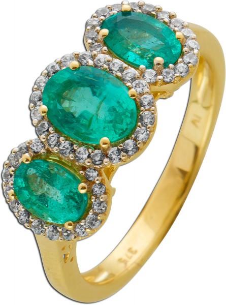 Smaragd Edelstein Ring Gelb/ Weissgold 333 grüne Smaragde weisse Diamanten zus. 0,44ct W/P1
