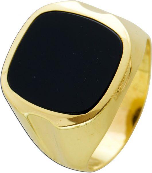 Antiker Onyx Herren Monogramm Siegel Ring 70er Jahre Gelbgold 585 schwarzer Edelstein Cabochon