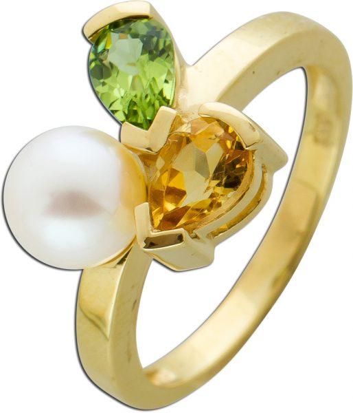 Edelsteinring Gelb Gold 333 brauner Citrin grüner Pridot weisse Akoyaperle 6mm