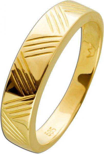 Geometrischer Damenring Gelbgold 585 gravierter Oberfläche