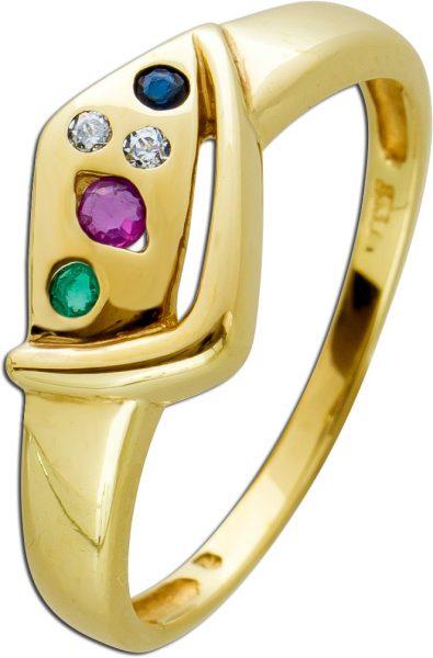 Edelstein Ring Multicolor Rubin Saphir Smaragd Gelbgold 333 weißen Diamanten
