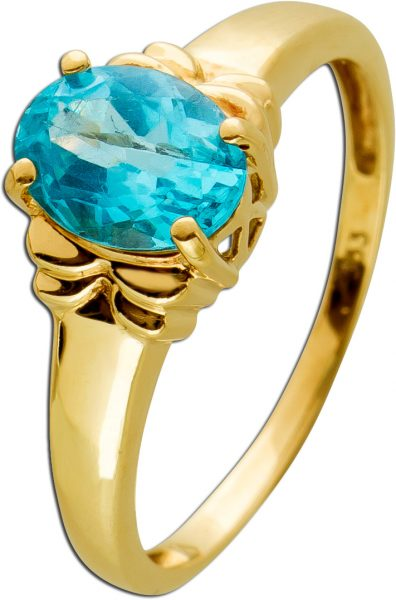 Antiker Edelsteinring um 1930 blau grünem Aquamarin Gelbgold 333 Goldschmuck