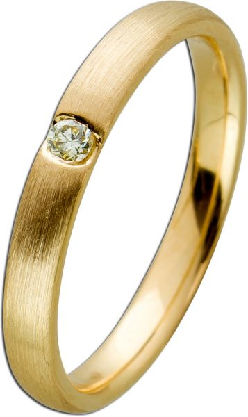 Solitär Brillant Ring Pseudospannring Optik Gelbgold 585/- Diamant 0,10ct leicht Gelb/VVSI mattiert