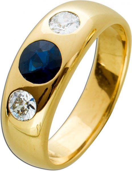 Antiker Edelstein Herrenring Gelbgold 585/- blauer Saphir ca 1,0ct weisse Brillanten zus. ca 0,50ct TW/SI IGI und Görg Zertifikat