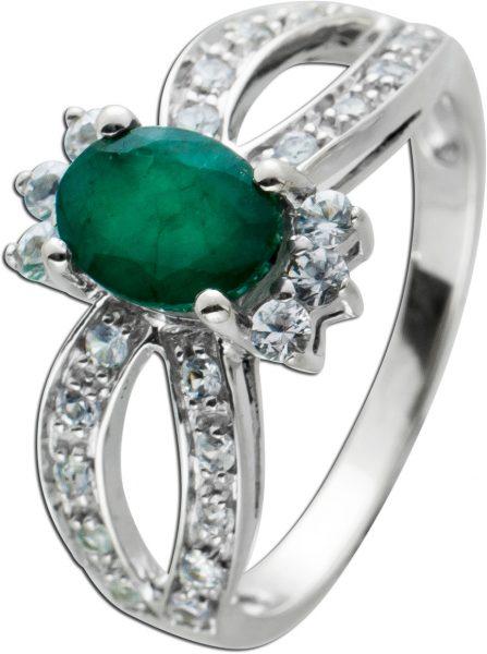 Antiker Smaragd Diamant Ring Weissgold 585/- um 1960,grünerEdelstein weisse Brillanten TW/VSI  18,2mm