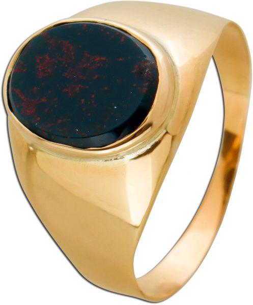 Antiker Siegelring Gold 585 grün roter Jaspis Edelstein oval um 1900 kaum sichtbare Einschlüsse