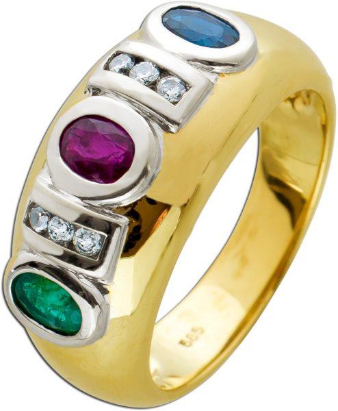 Multicolor Edelstein Ring Gelbgold 585 Saphir Rubin Smaragd Diamanten Brillanten kanalgefasst zus. 0,10ct TW/VVSI