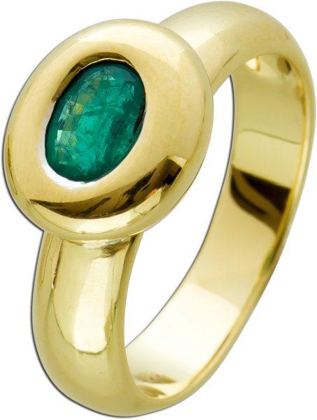 Smaragd Solitär Rring Gelbgold 585 massiv oval grüner Edelstein facettiert