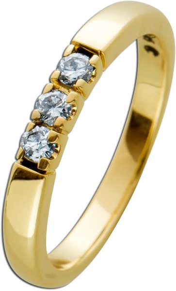 Memoire Ring Gelbgold 585 Diamanten Brillanten zus. 0,15ct TW/SI Vor-/Beisteckring